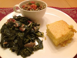 Collards and hoppin' john uses very little meat for a very satisfying meal!